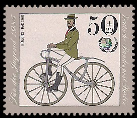50 + 20 Pf Briefmarke: Für die Jugend 1985, Fahrräder