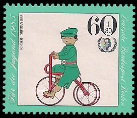 60 + 30 Pf Briefmarke: Für die Jugend 1985, Fahrräder
