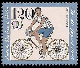 120 + 60 Pf Briefmarke: Für die Jugend 1985, Fahrräder