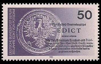 50 Pf Briefmarke: 300 Jahre Edikt von Potsdam