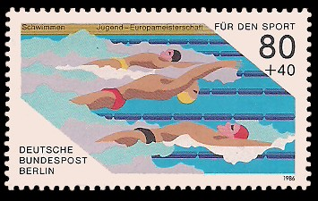 80 + 40 Pf Briefmarke: Für den Sport 1986