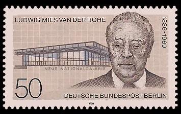 50 Pf Briefmarke: 100. Geburtstag Ludwig Mies van der Rohe