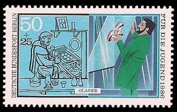 50 + 25 Pf Briefmarke: Für die Jugend 1986, Handwerker