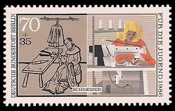 70 + 35 Pf Briefmarke: Für die Jugend 1986, Handwerker