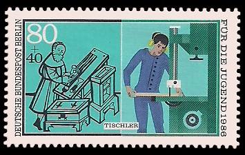 80 + 40 Pf Briefmarke: Für die Jugend 1986, Handwerker