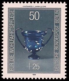 50 + 25 Pf Briefmarke: Wohlfahrtsmarke 1986, antike Gläser