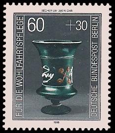 60 + 30 Pf Briefmarke: Wohlfahrtsmarke 1986, antike Gläser