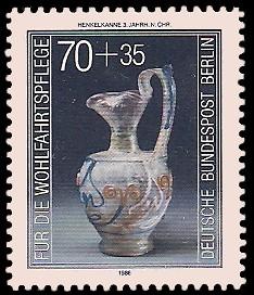 70 + 35 Pf Briefmarke: Wohlfahrtsmarke 1986, antike Gläser