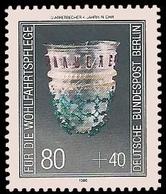 80 + 40 Pf Briefmarke: Wohlfahrtsmarke 1986, antike Gläser