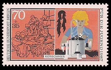 70 + 35 Pf Briefmarke: Für die Jugend 1987, Handwerker