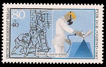 80 + 40 Pf Briefmarke: Für die Jugend 1987, Handwerker
