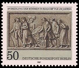 50 Pf Briefmarke: Ansiedlung der Böhmen in Rixdorf