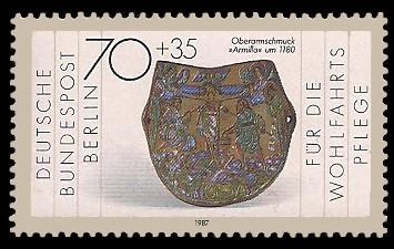 70 + 35 Pf Briefmarke: Wohlfahrtsmarke 1987, Geschmiedetes aus Gold + Silber