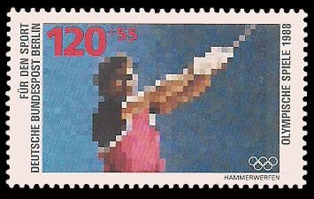 120 + 55 Pf Briefmarke: Für den Sport 1988