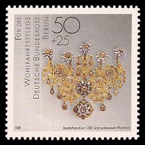 50 + 25 Pf Briefmarke: Wohlfahrtsmarke 1988, Geschmiedetes aus Gold + Silber
