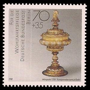 70 + 35 Pf Briefmarke: Wohlfahrtsmarke 1988, Geschmiedetes aus Gold + Silber