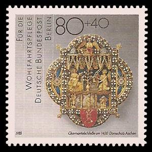80 + 40 Pf Briefmarke: Wohlfahrtsmarke 1988, Geschmiedetes aus Gold + Silber
