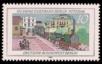 10 Pf Briefmarke: 150 Jahre Eisenbahn Berlin-Potsdam
