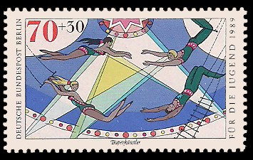 70 + 30 Pf Briefmarke: Für die Jugend 1989, Zirkus