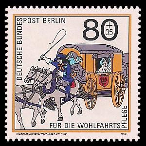 80 + 35 Pf Briefmarke: Wohlfahrtsmarke 1989, Postboten