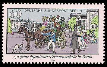 60 Pf Briefmarke: 250 Jahre öffentlicher Personenverkehr
