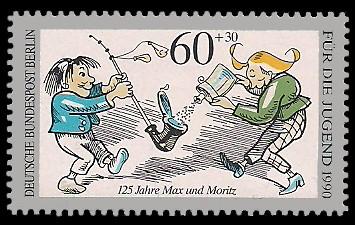 60 + 30 Pf Briefmarke: Für die Jugend 1990, Max und Moritz