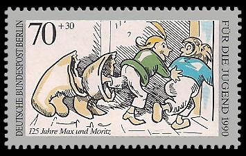 70 + 30 Pf Briefmarke: Für die Jugend 1990, Max und Moritz