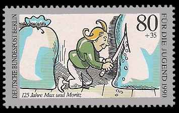 80 + 35 Pf Briefmarke: Für die Jugend 1990, Max und Moritz