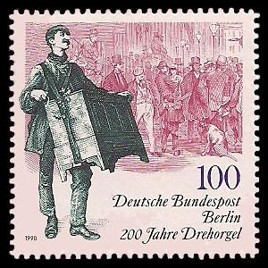 100 Pf Briefmarke: 200 Jahre Drehorgel