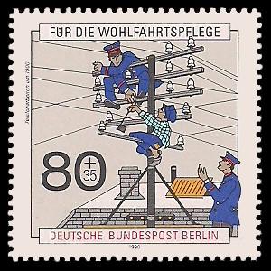 80 + 35 Pf Briefmarke: Wohlfahrtsmarke 1990, Post